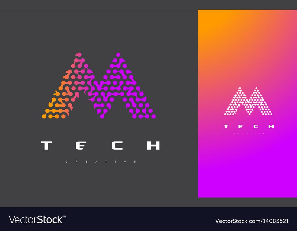M letter logo technology connected dots letter