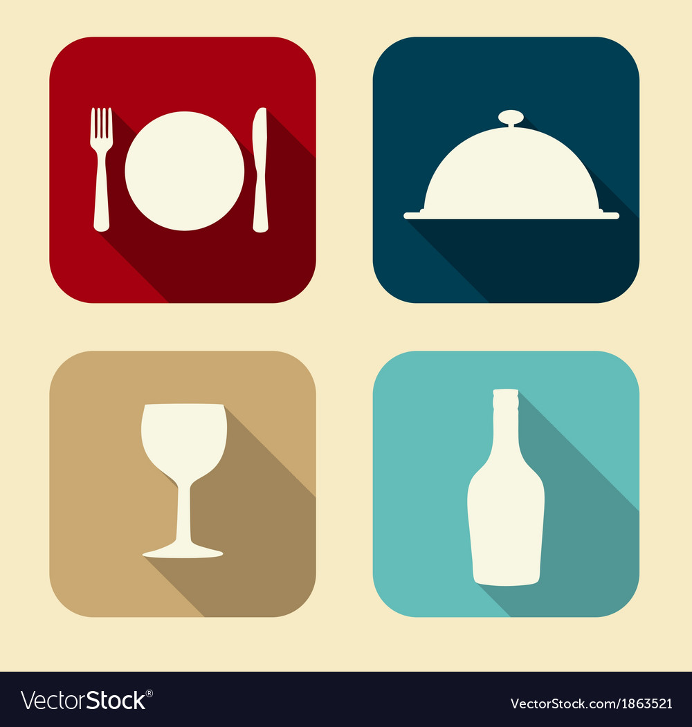 Modern Flat Food Icon Set for Web and Mobile