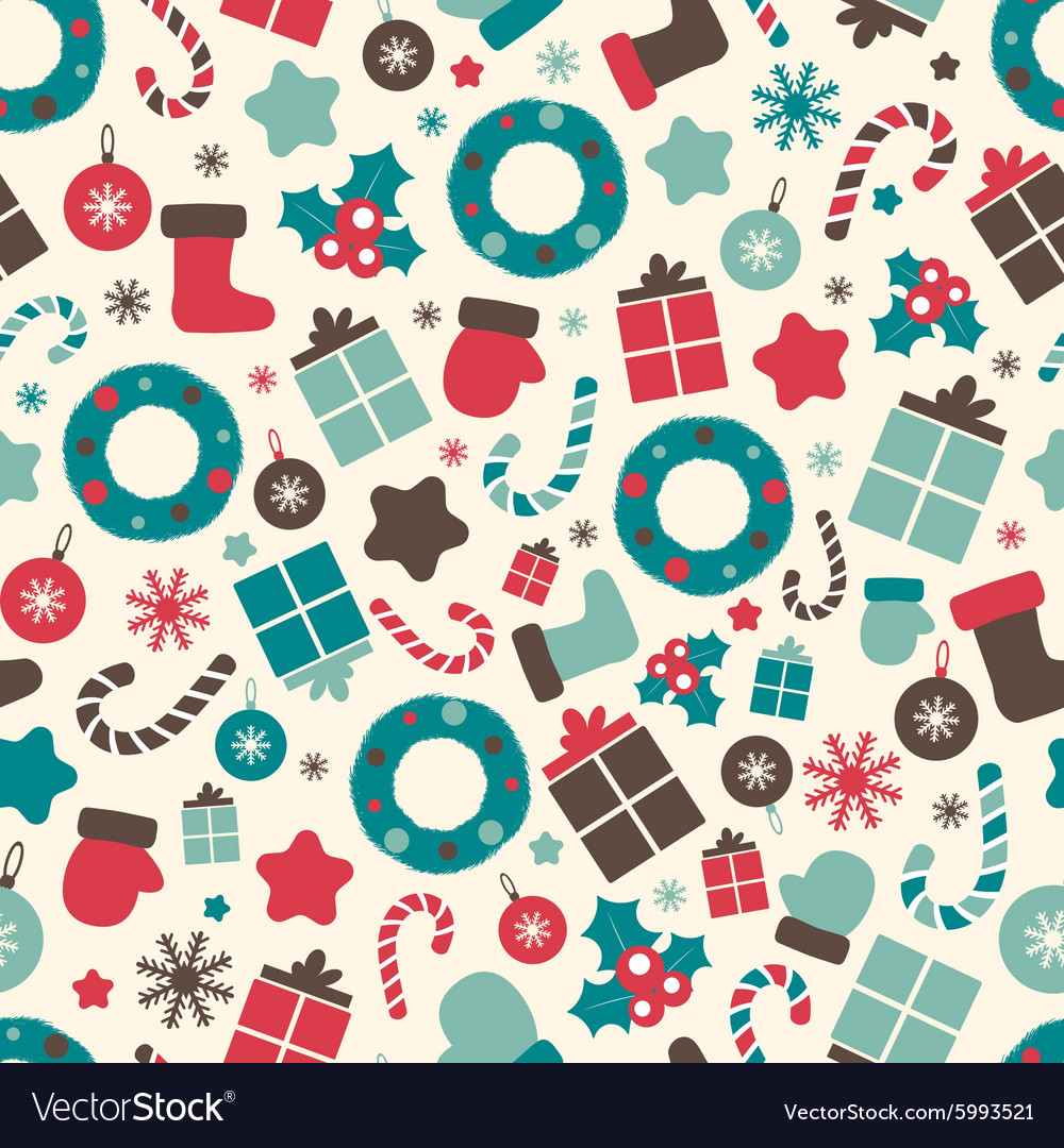 Christmas Pattern.Retro Style Christmas Patterns Winter Background