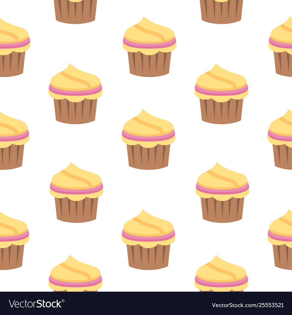 Seamless pattern with cupcake in flat style