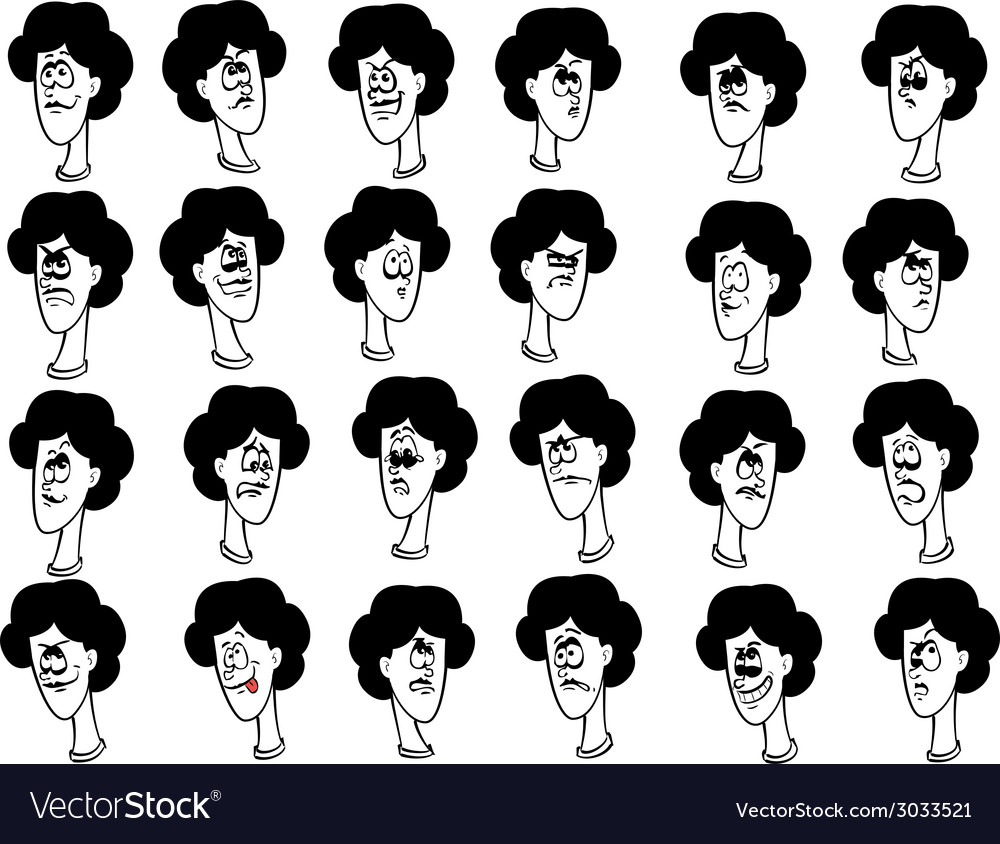 Set of cartoon female faces with emotional vector image