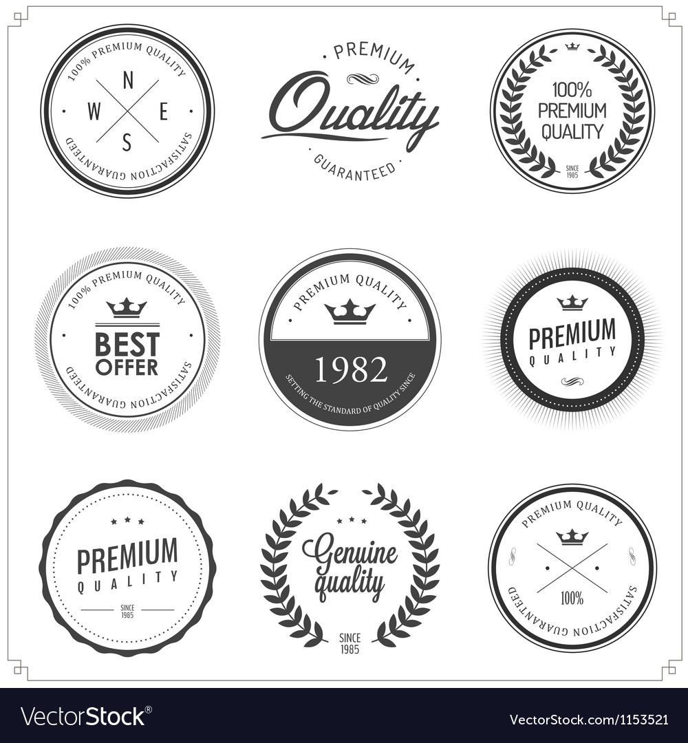 Set of vintage monochrome retail labels and badges vector image