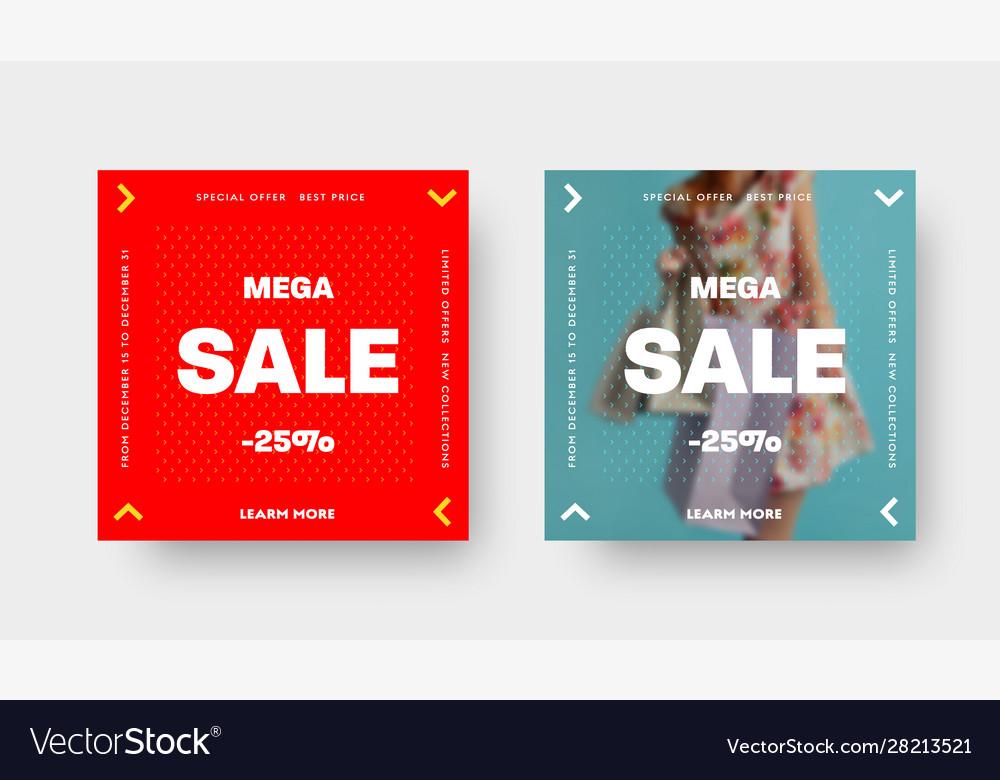 Set square web banners for mega big sale