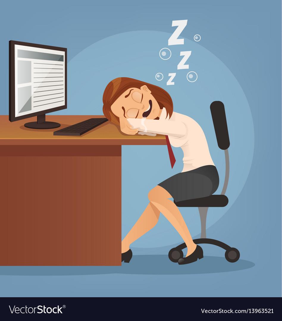 Sleeping happy smiling office worker woman