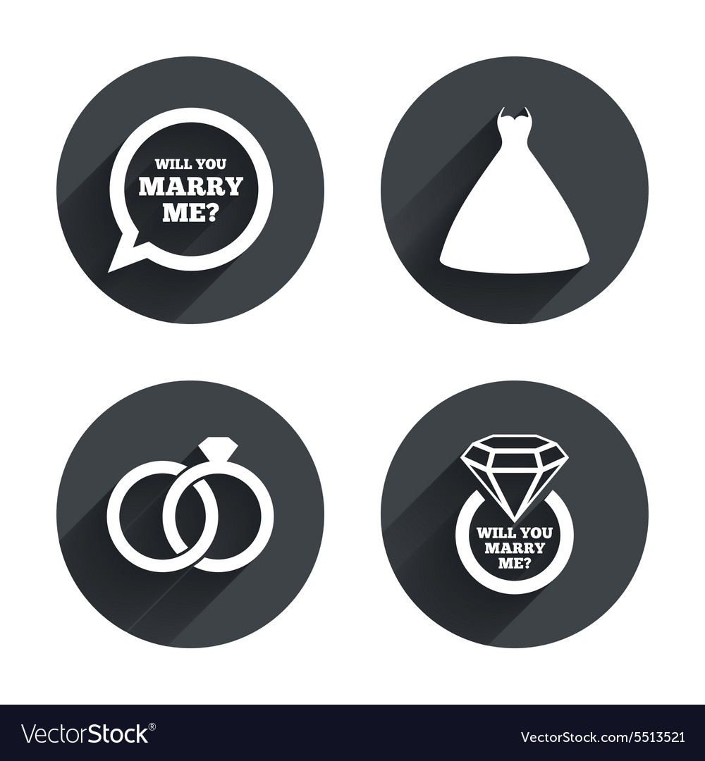 Wedding dress icon Bride and groom rings symbol