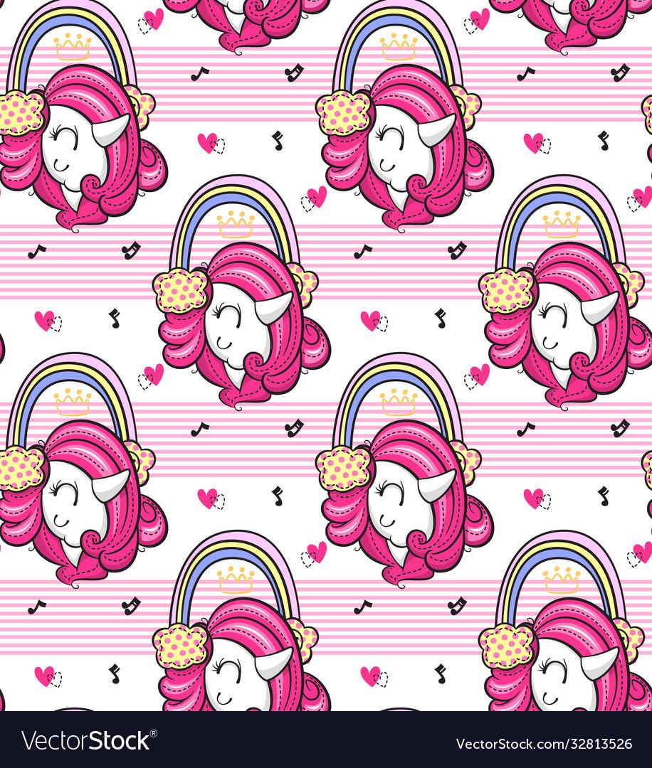Beautiful unicorn girl listening to music