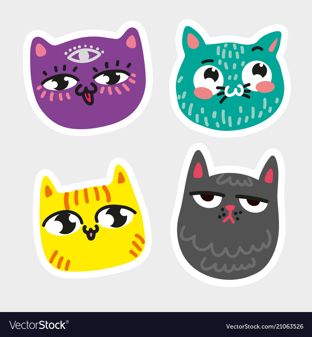 Cat icon collection quad colorful isolated cat