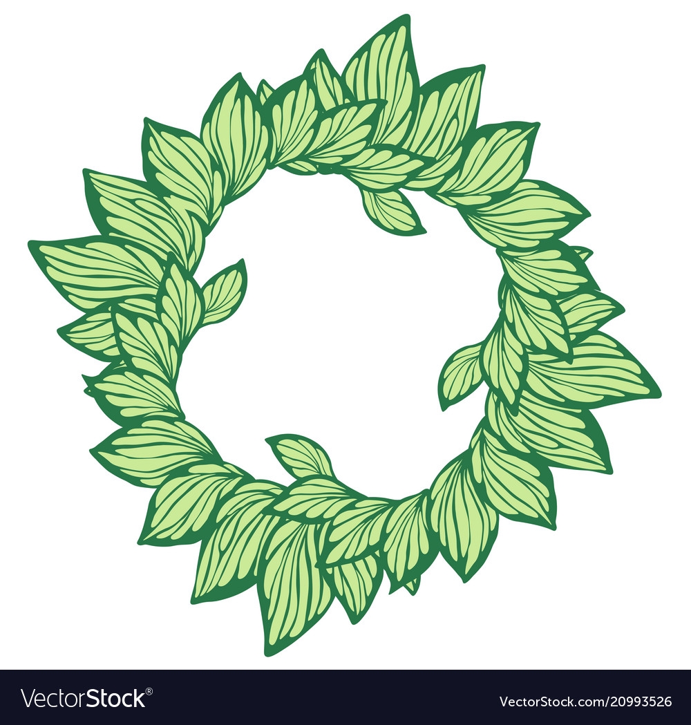 Circle wreath with leaves made in graphic style