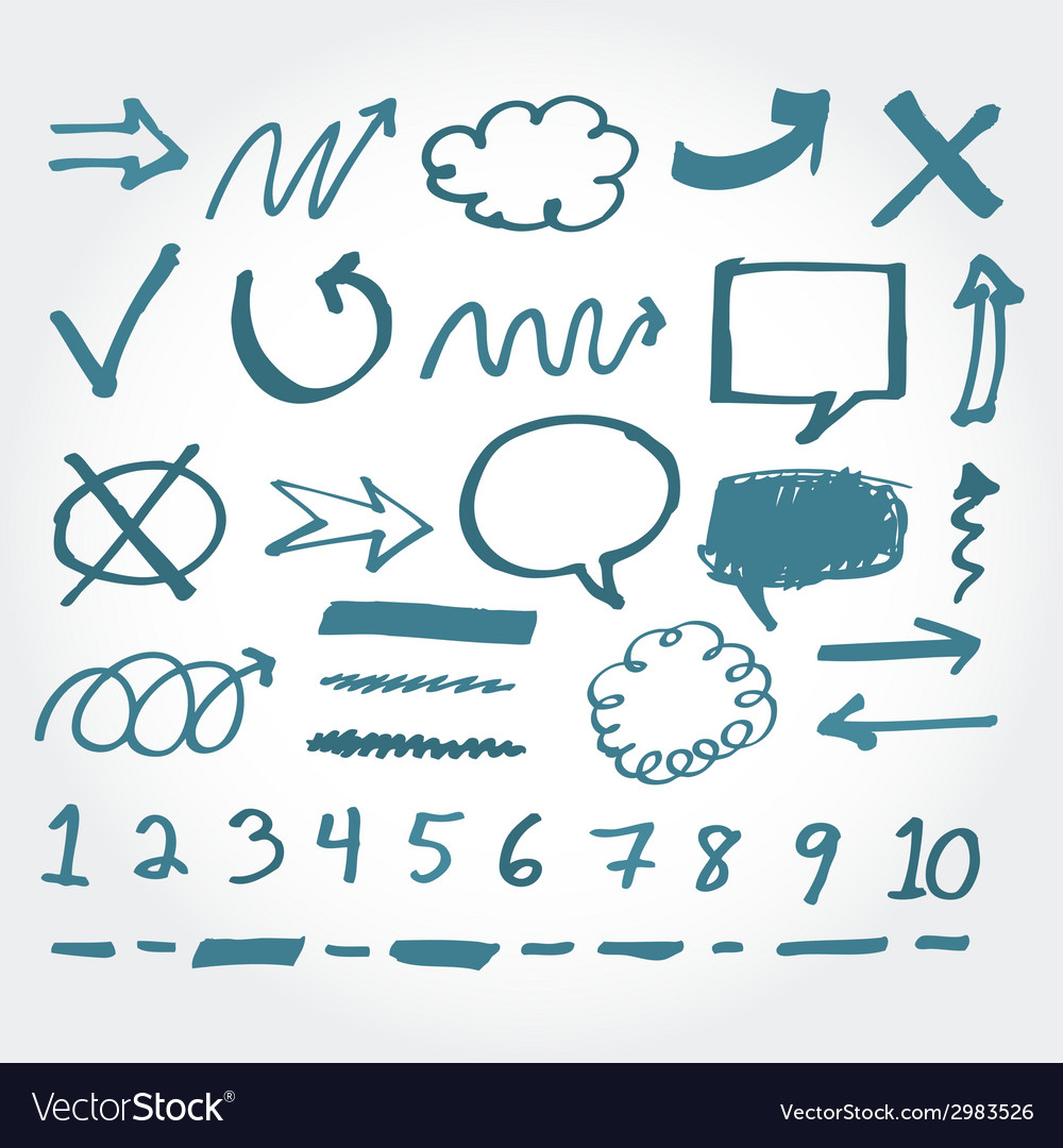 Collection of hand drawn highlighter elements vector image