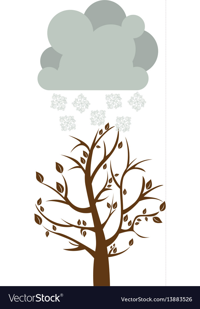 Colorful winter picture with fall tree with cloud vector image