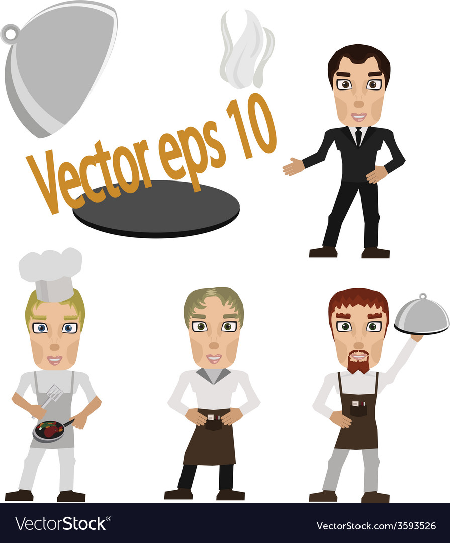 Cook prepares and waiter with tray vector image