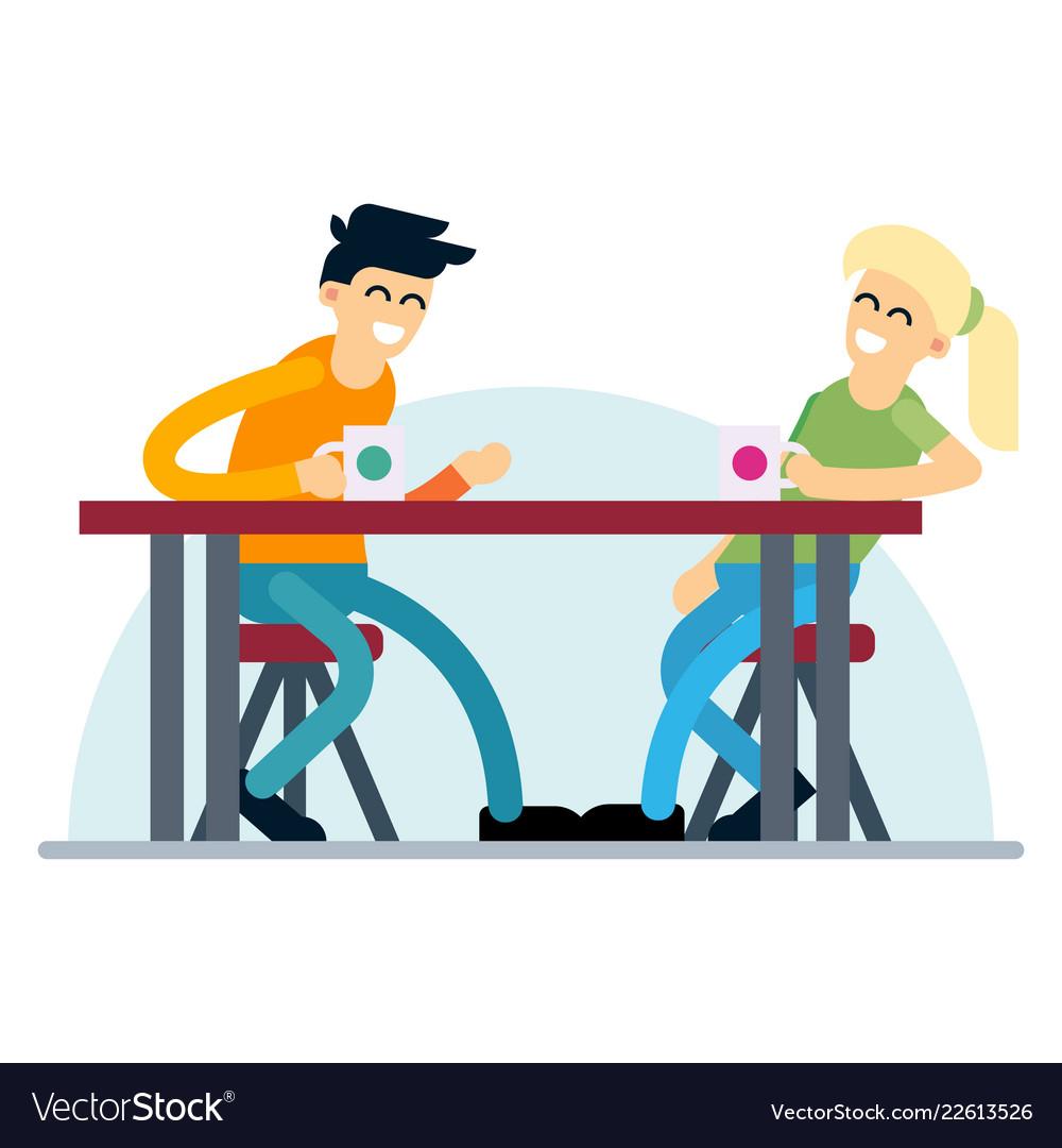 Couple having coffee date flat design