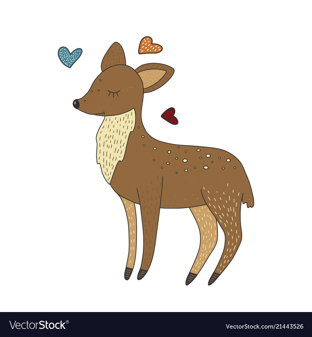 Cute little baby deer cartoon hand drawn