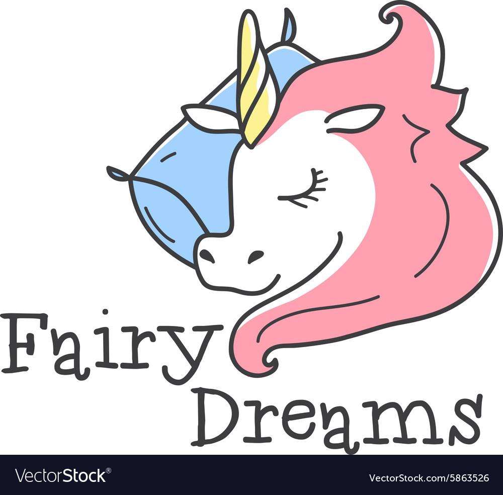 Cute logo Cartoon sleeping unicorn