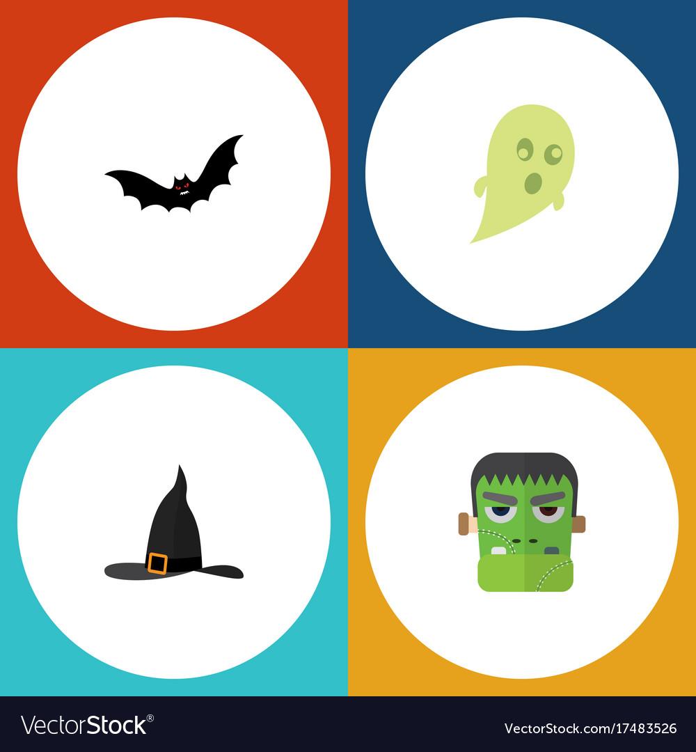 Flat icon halloween set of phantom witch cap