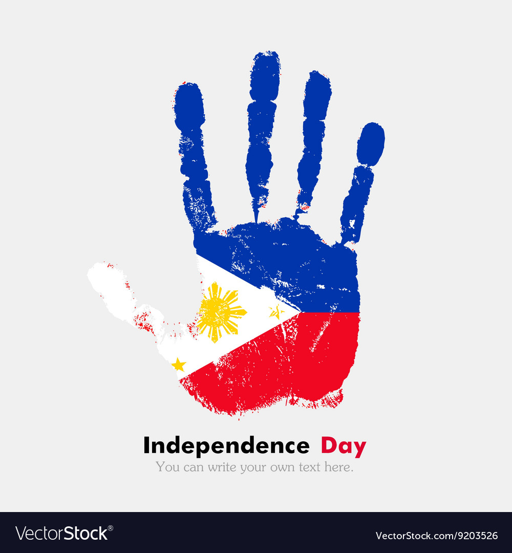 Handprint with flag of the Philippines in grunge