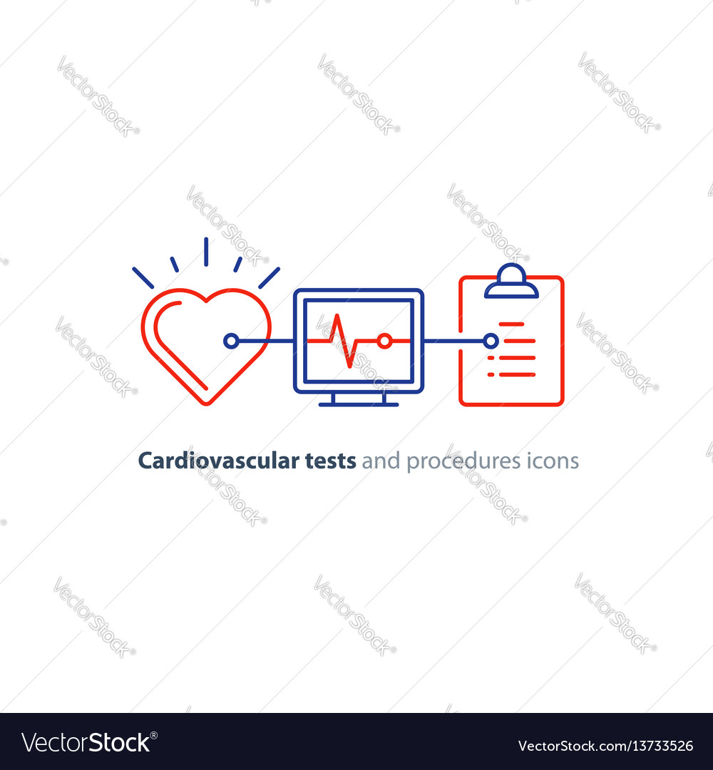 Heart test line icon electrocardiogram monitor