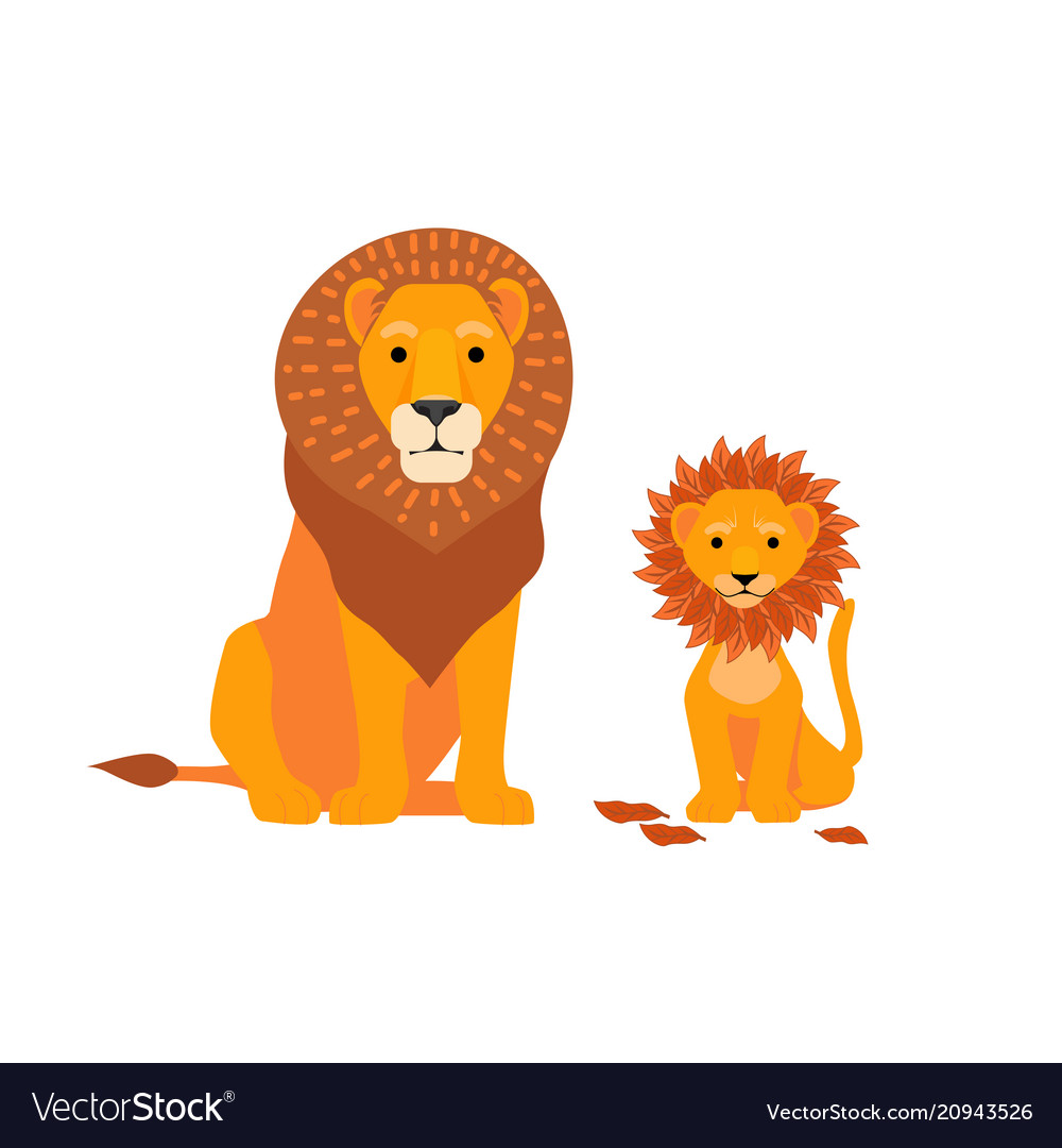 Lion and son family happy