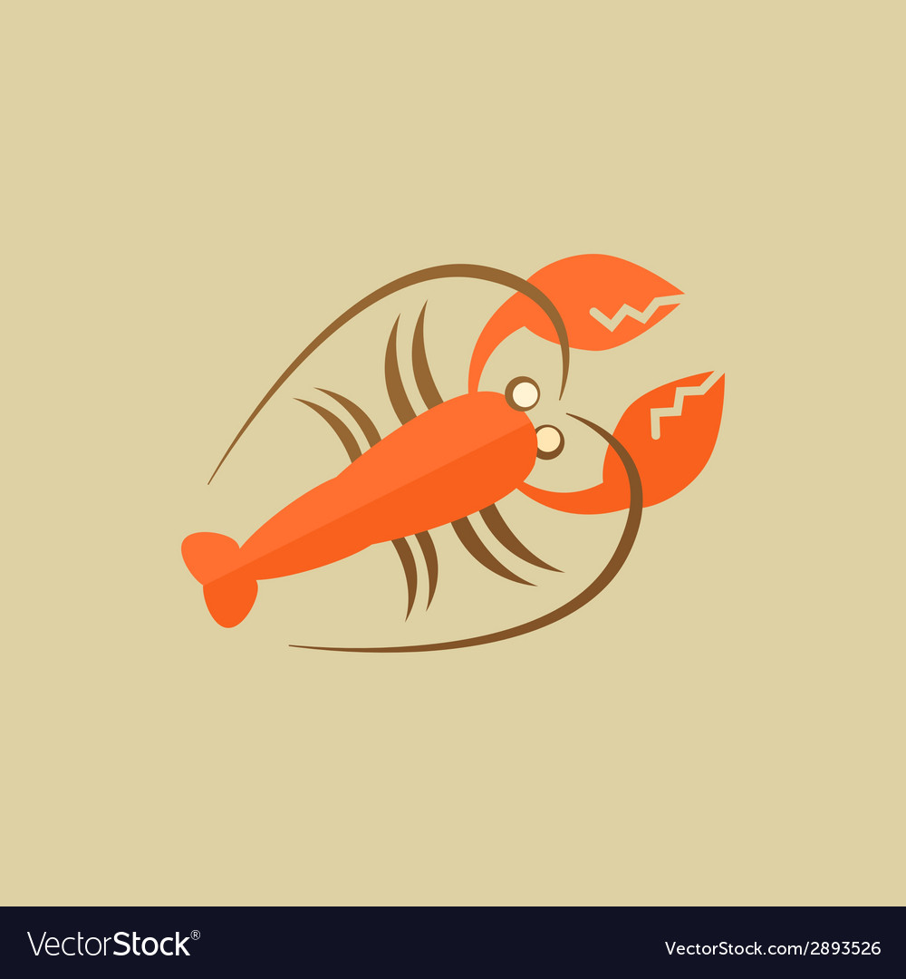 Lobster Food Flat Icon vector image