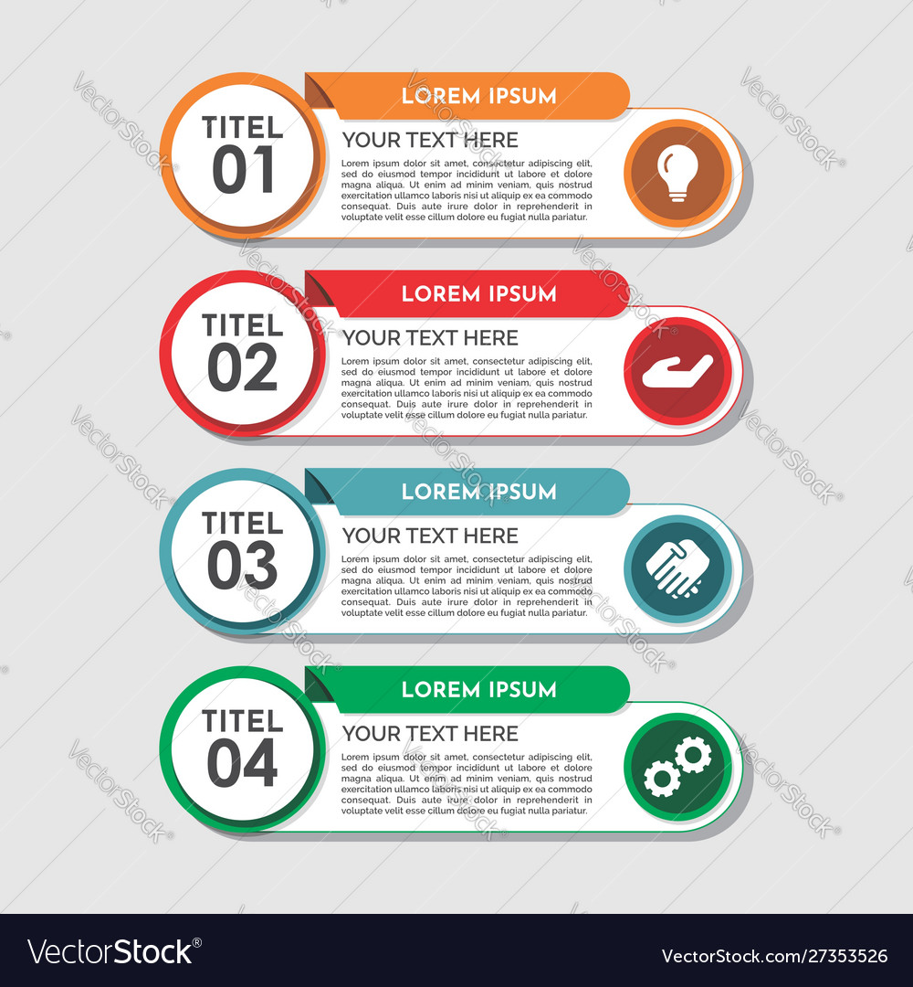 Modern four steps infographics template design