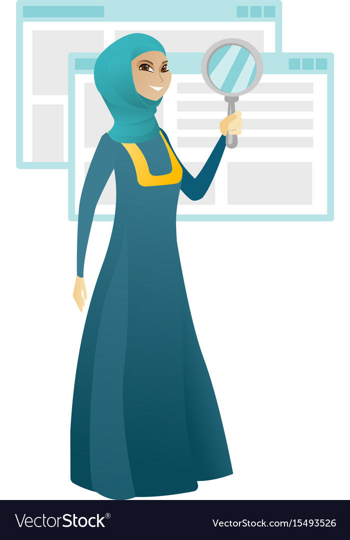 Muslim business woman with magnifying glass vector image