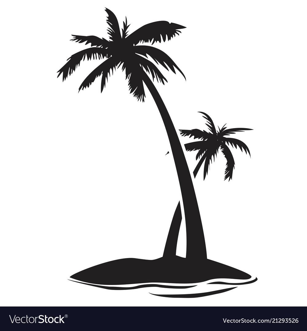 Palm tree island silhouette