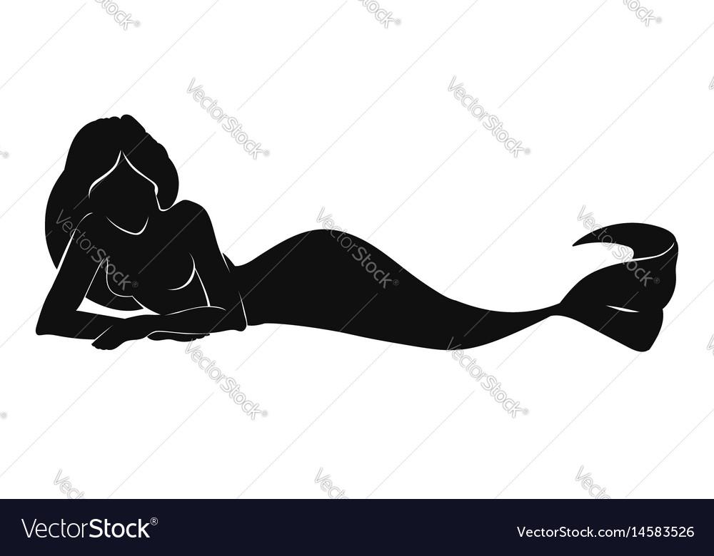 Pretty mermaid silhouette vector image