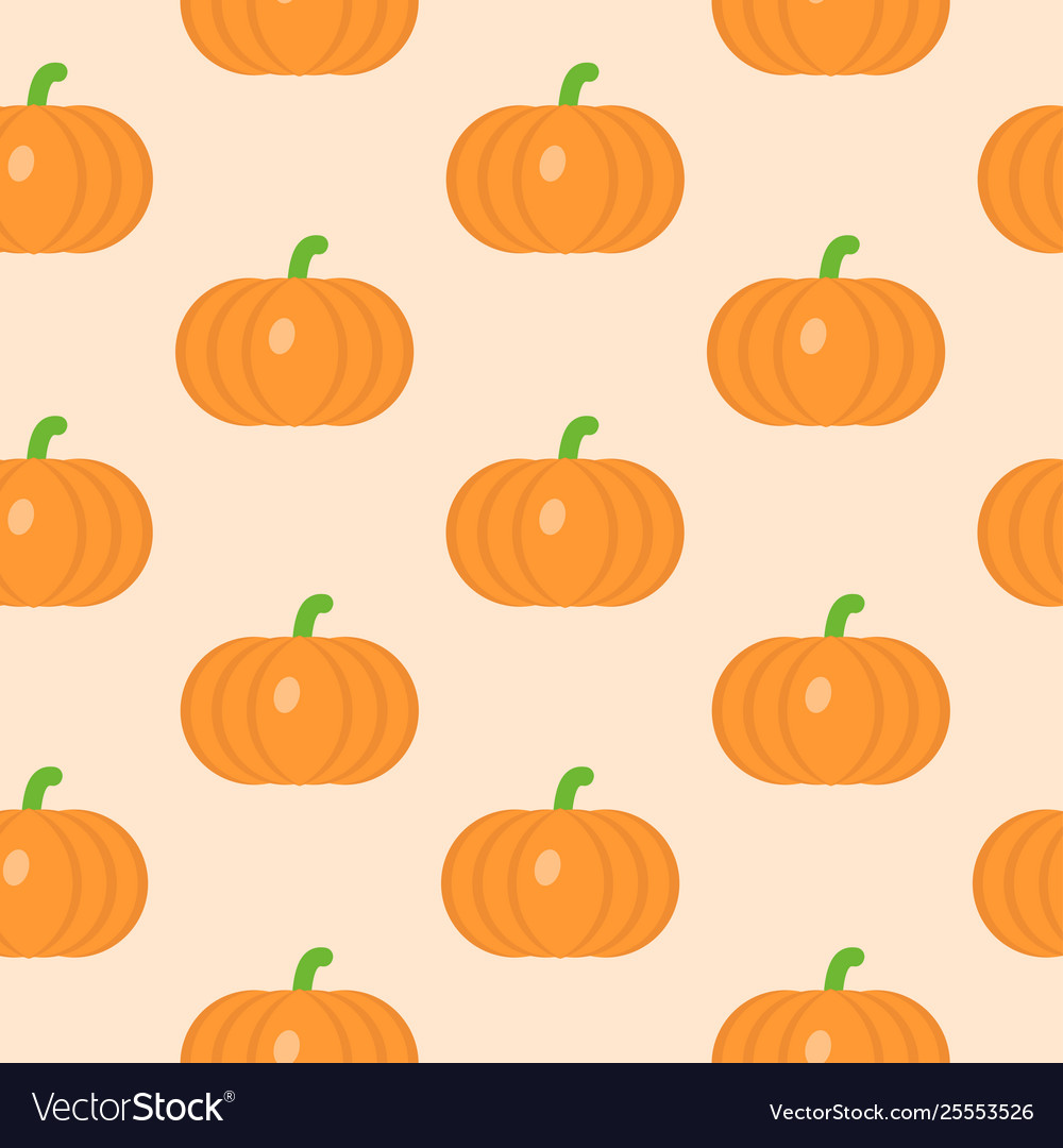 Seamless pattern with pumpkin in flat style
