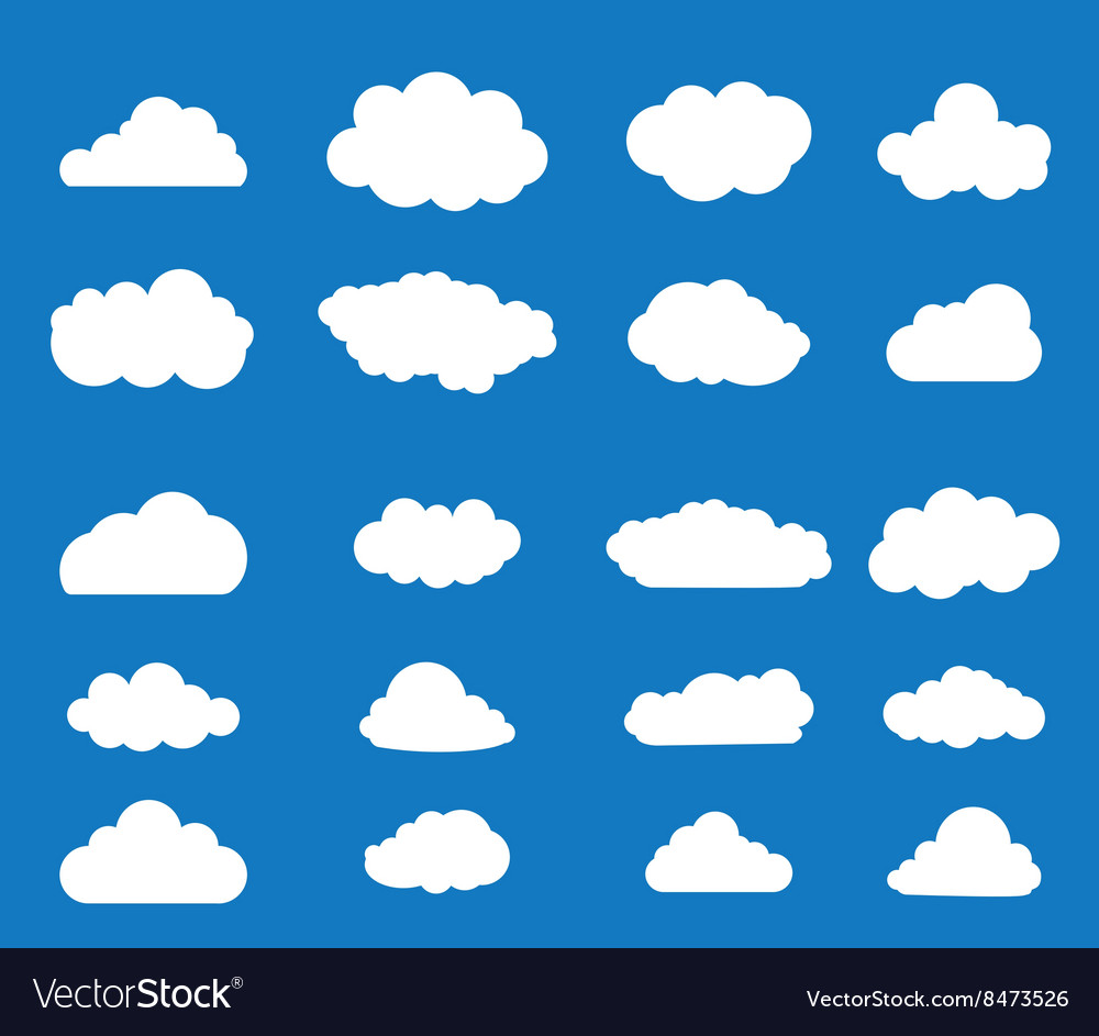 Set of blue sky clouds vector image