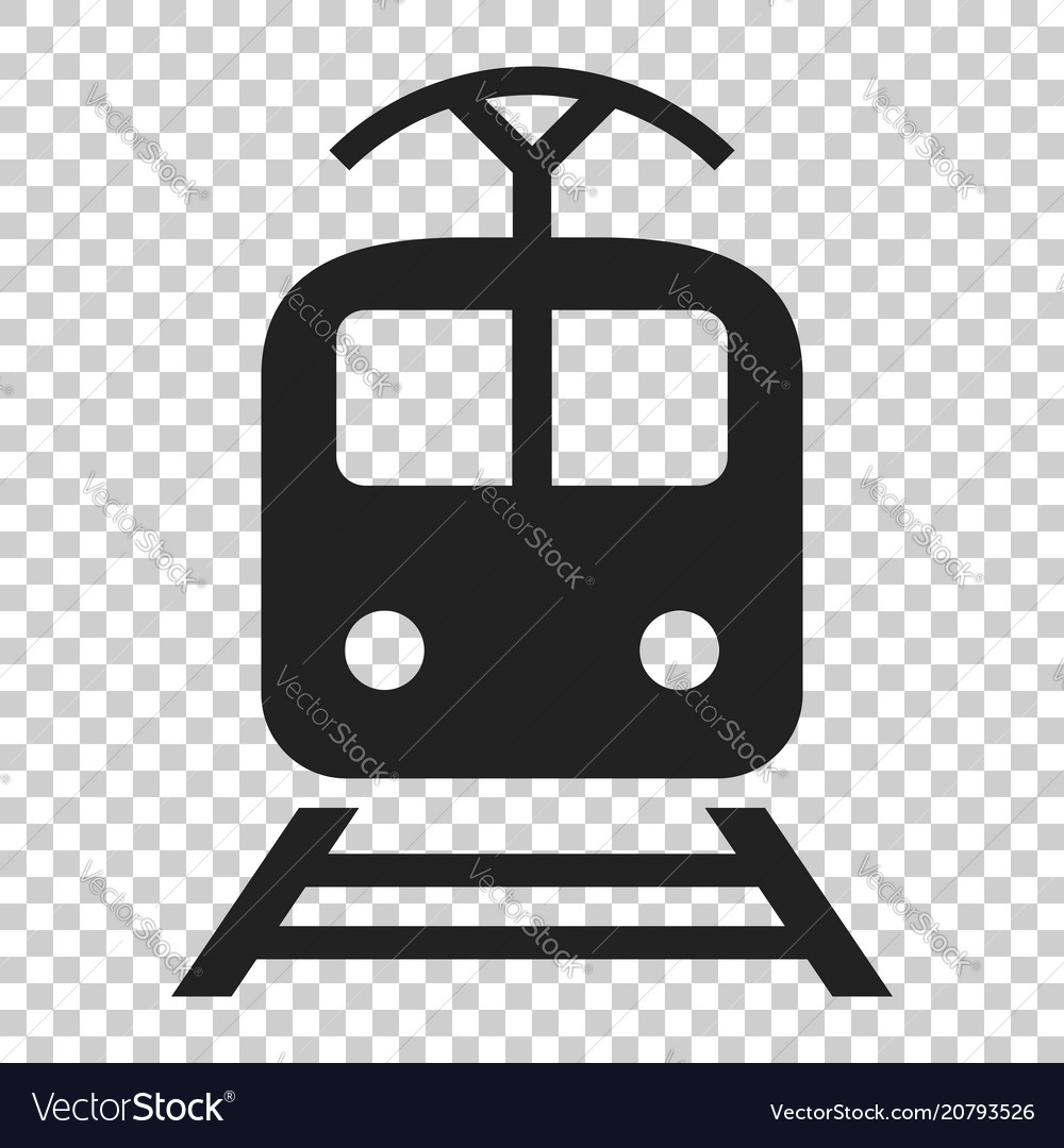Train transportation icon on isolated transparent