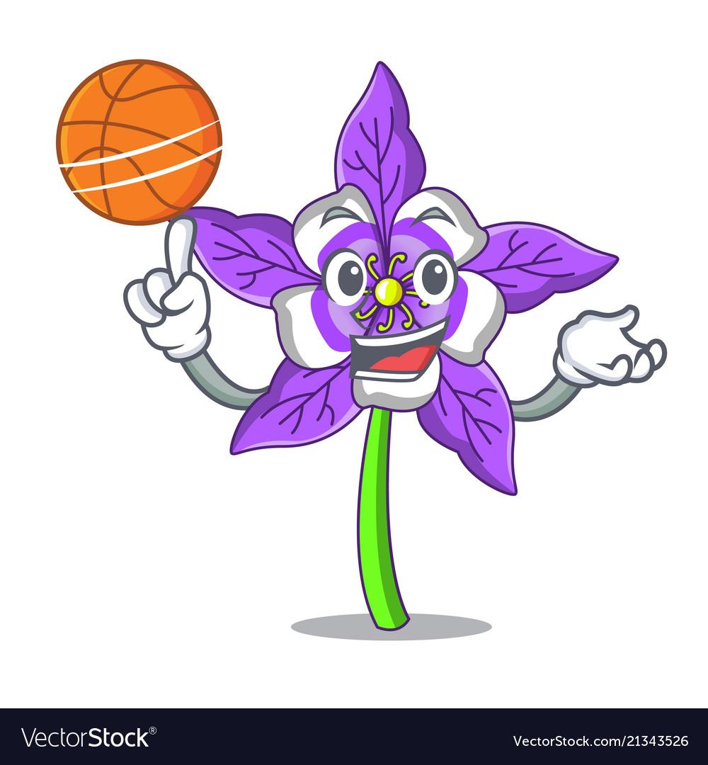 With Basketball Columbine Flower Character Cartoon