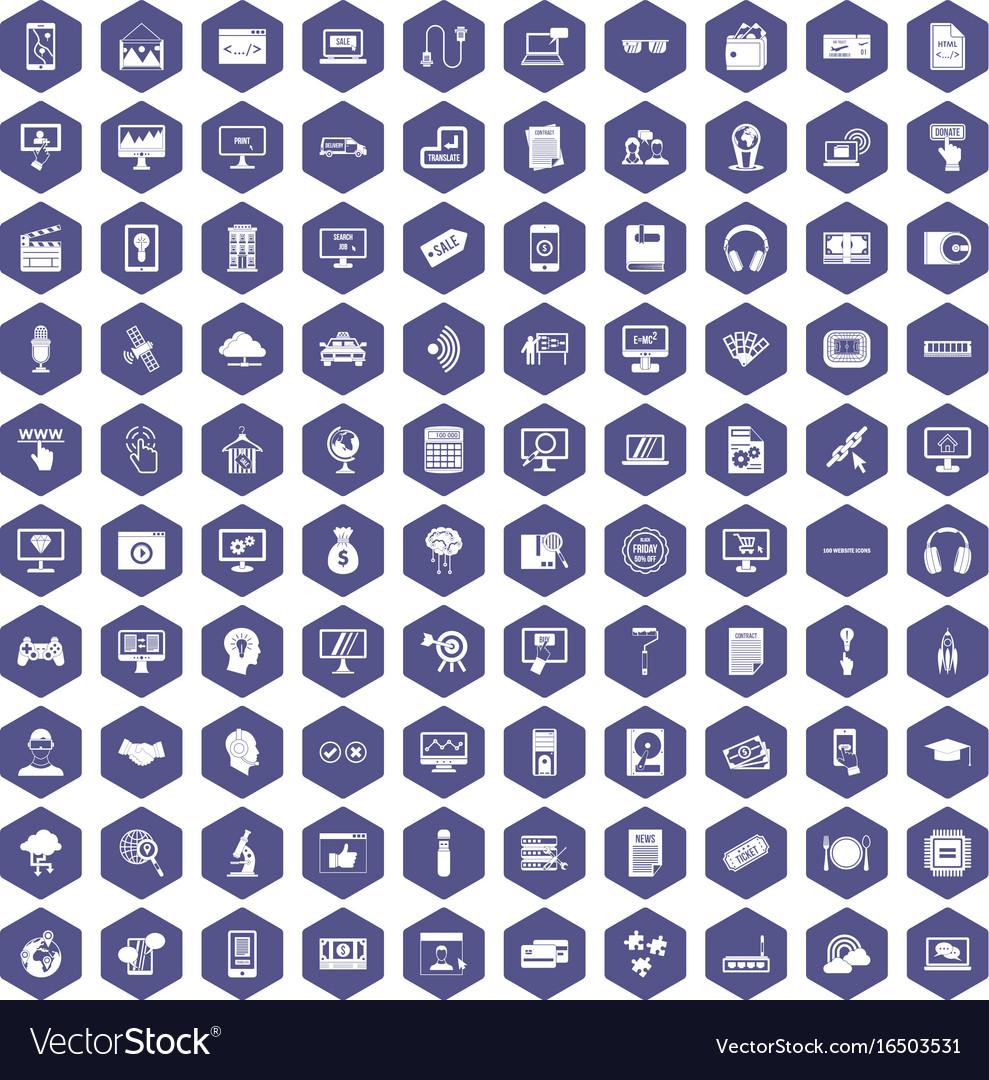 100 website icons hexagon purple