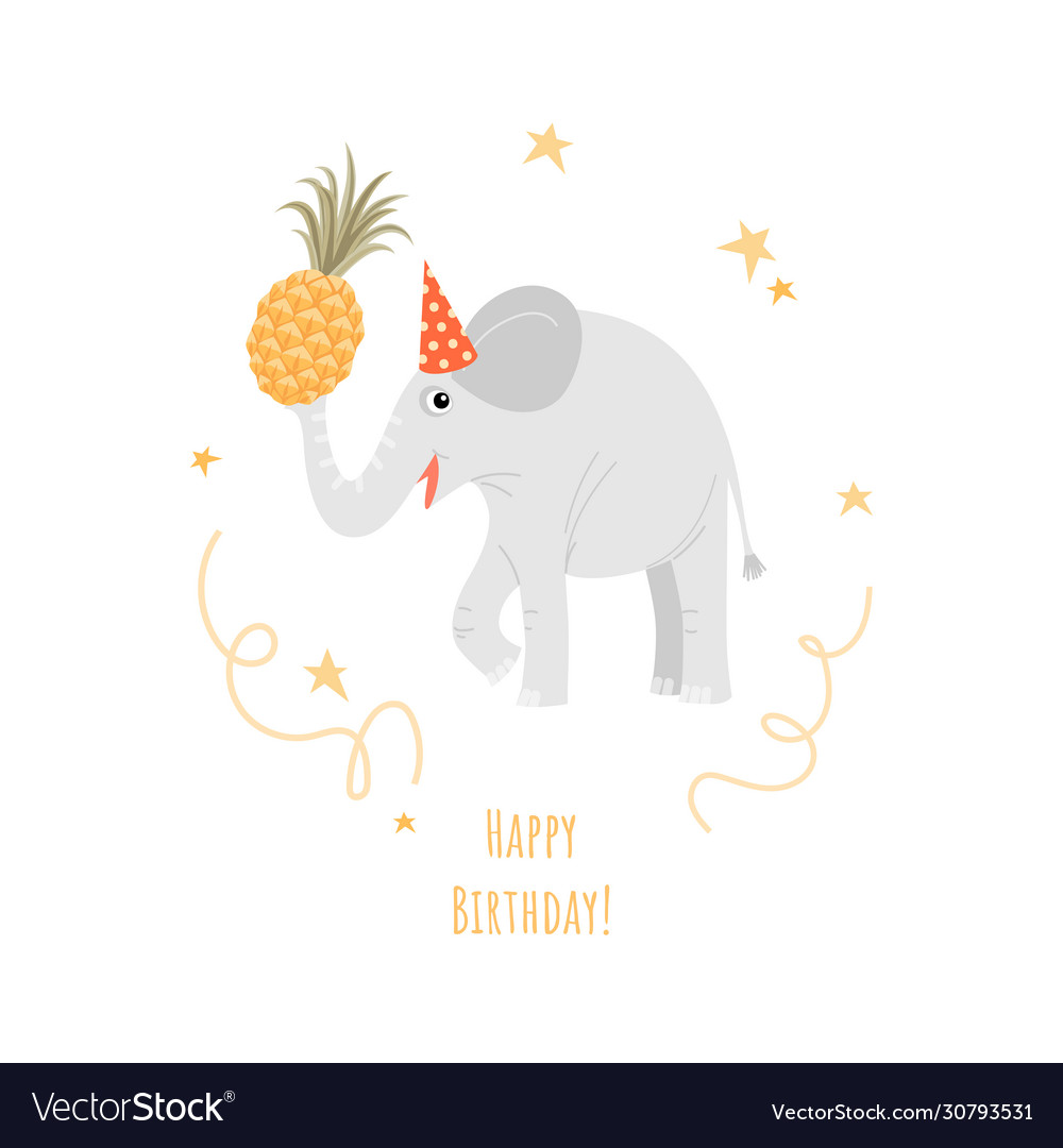A birthday greeting card with a funny elephant