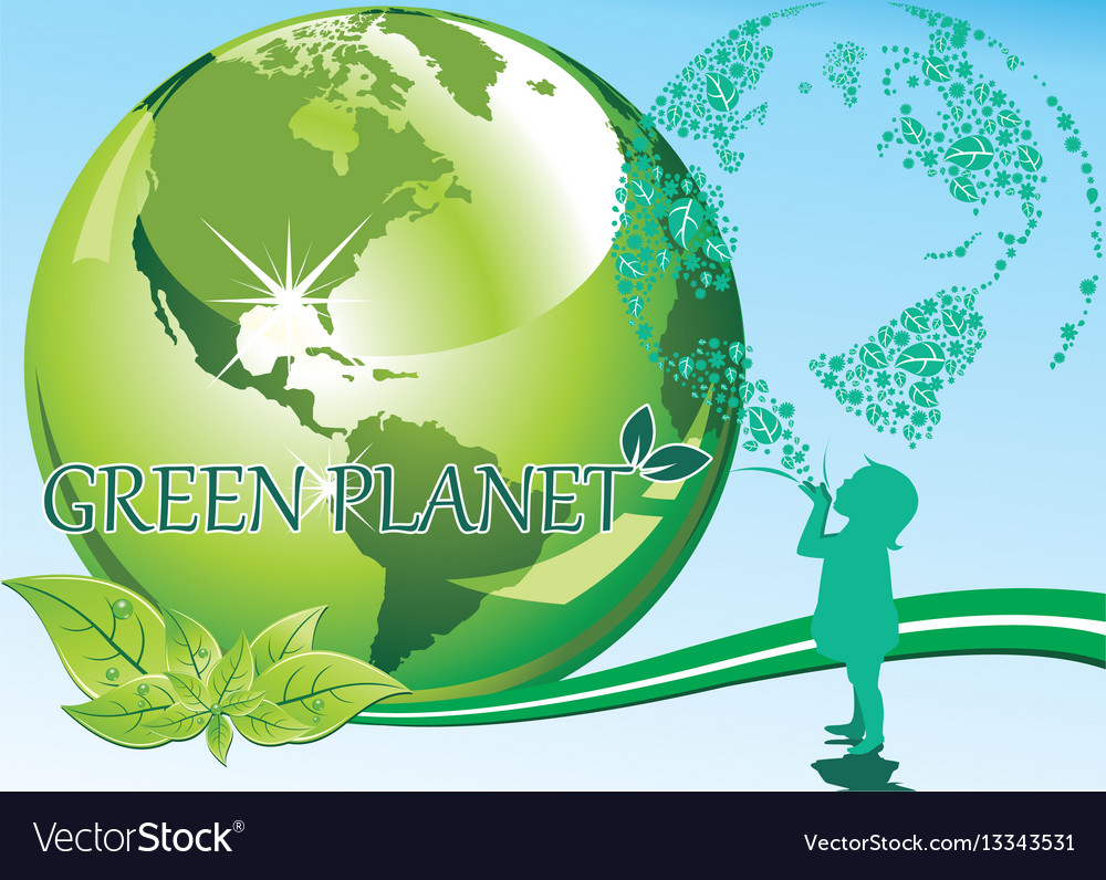 Background - a girl and a green planet vector image