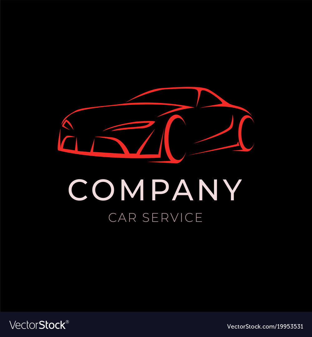 Car service company logo with sport vehicle vector image