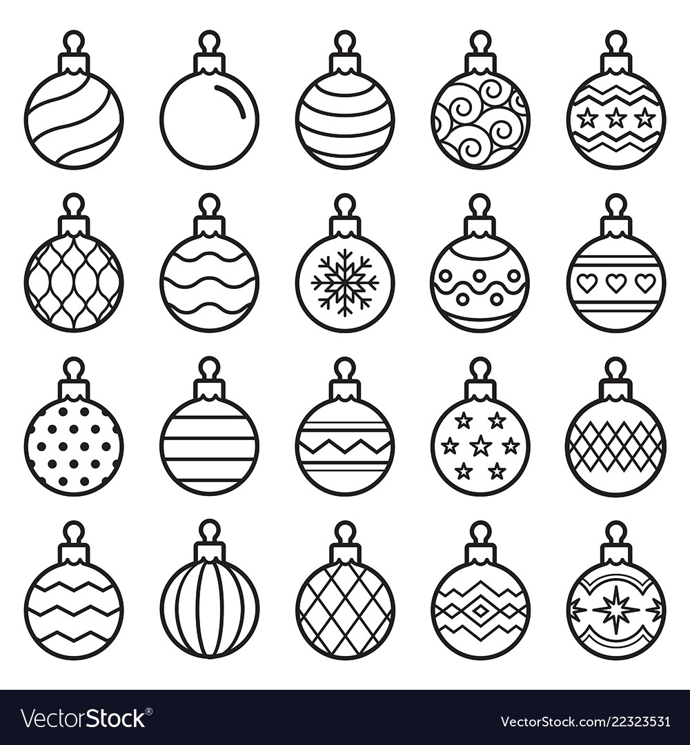 Christmas balls line icons