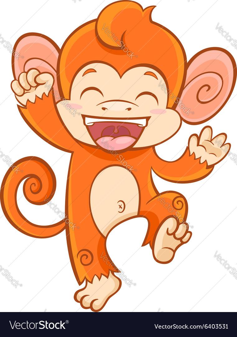 Cute cartoon smiling monkey