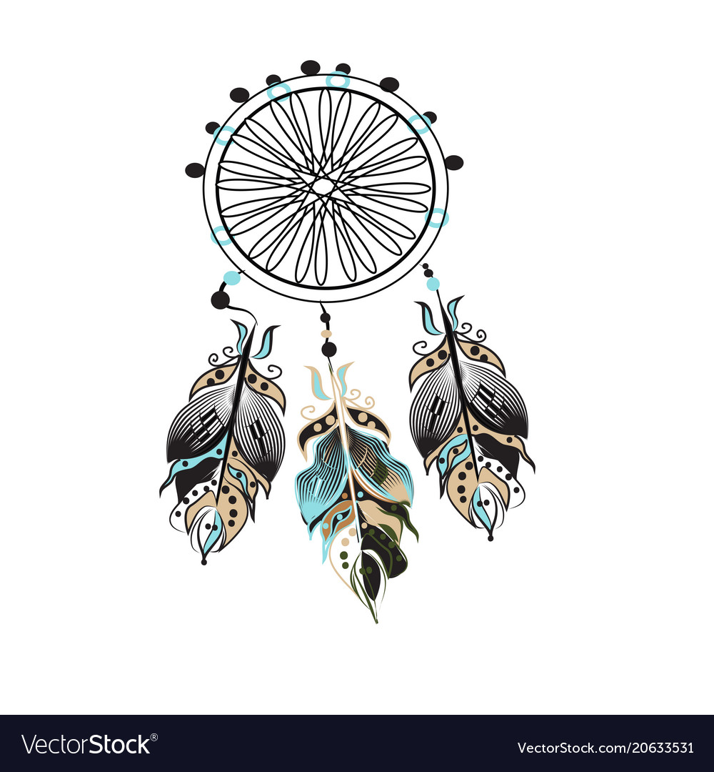 Dream catcher decorated with feathers and beads