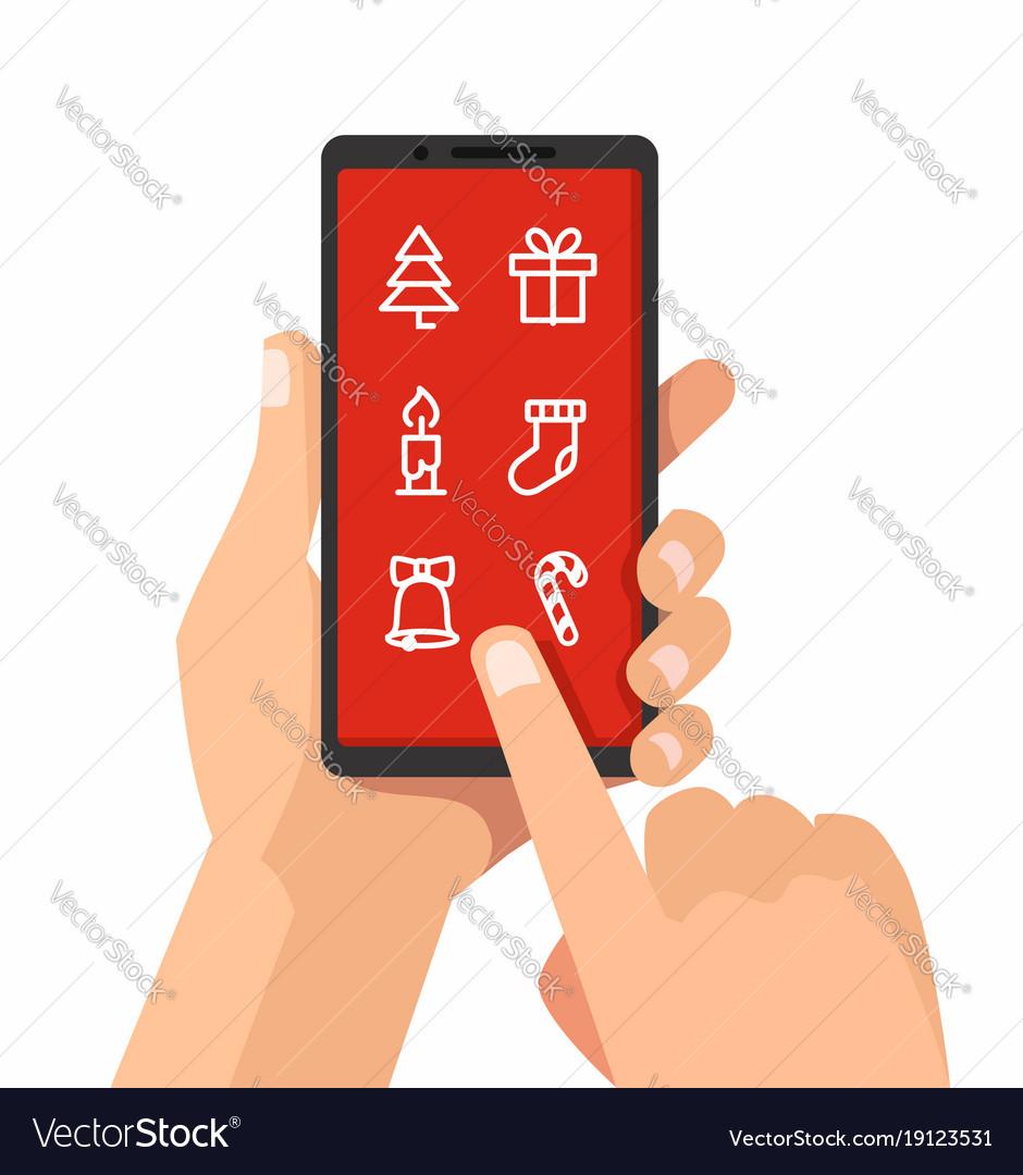 Hand holding christmas smartphone