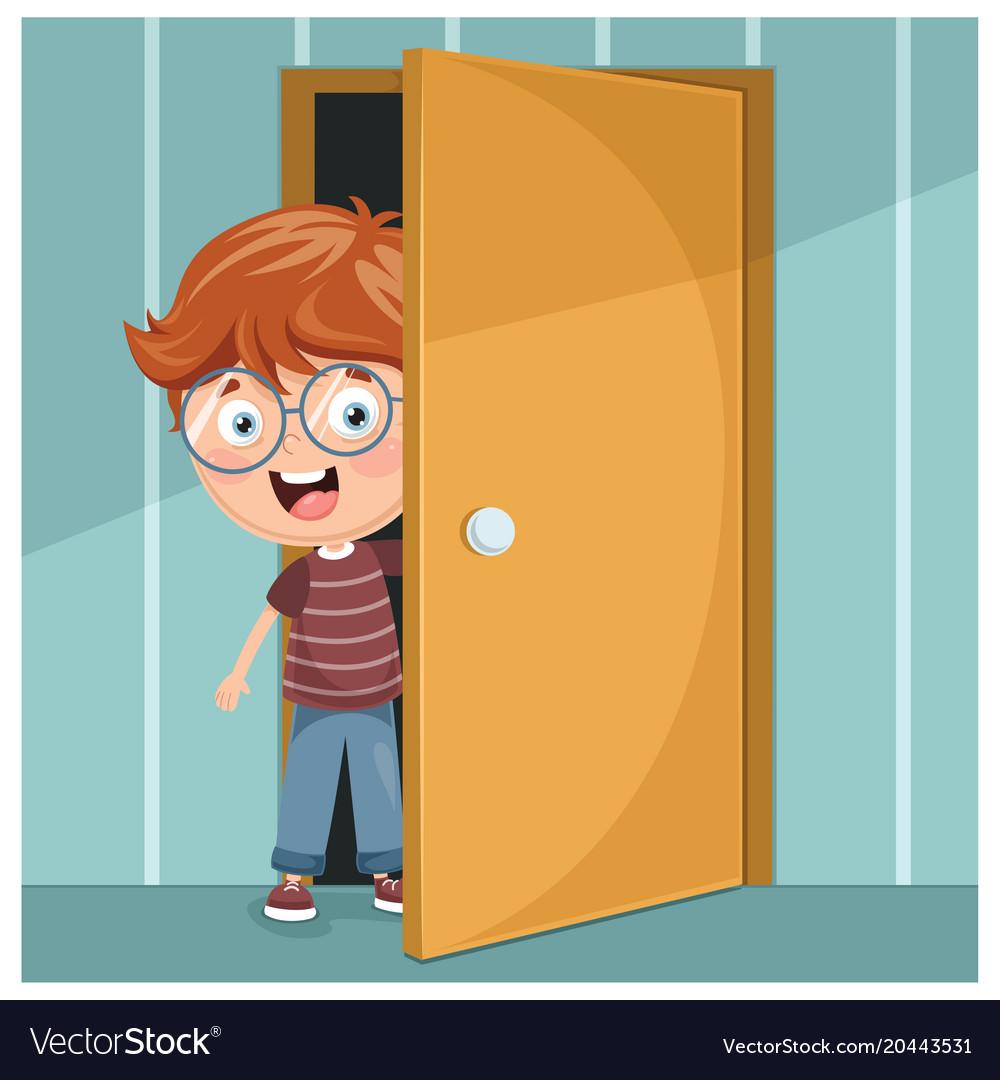 Kid opening the door