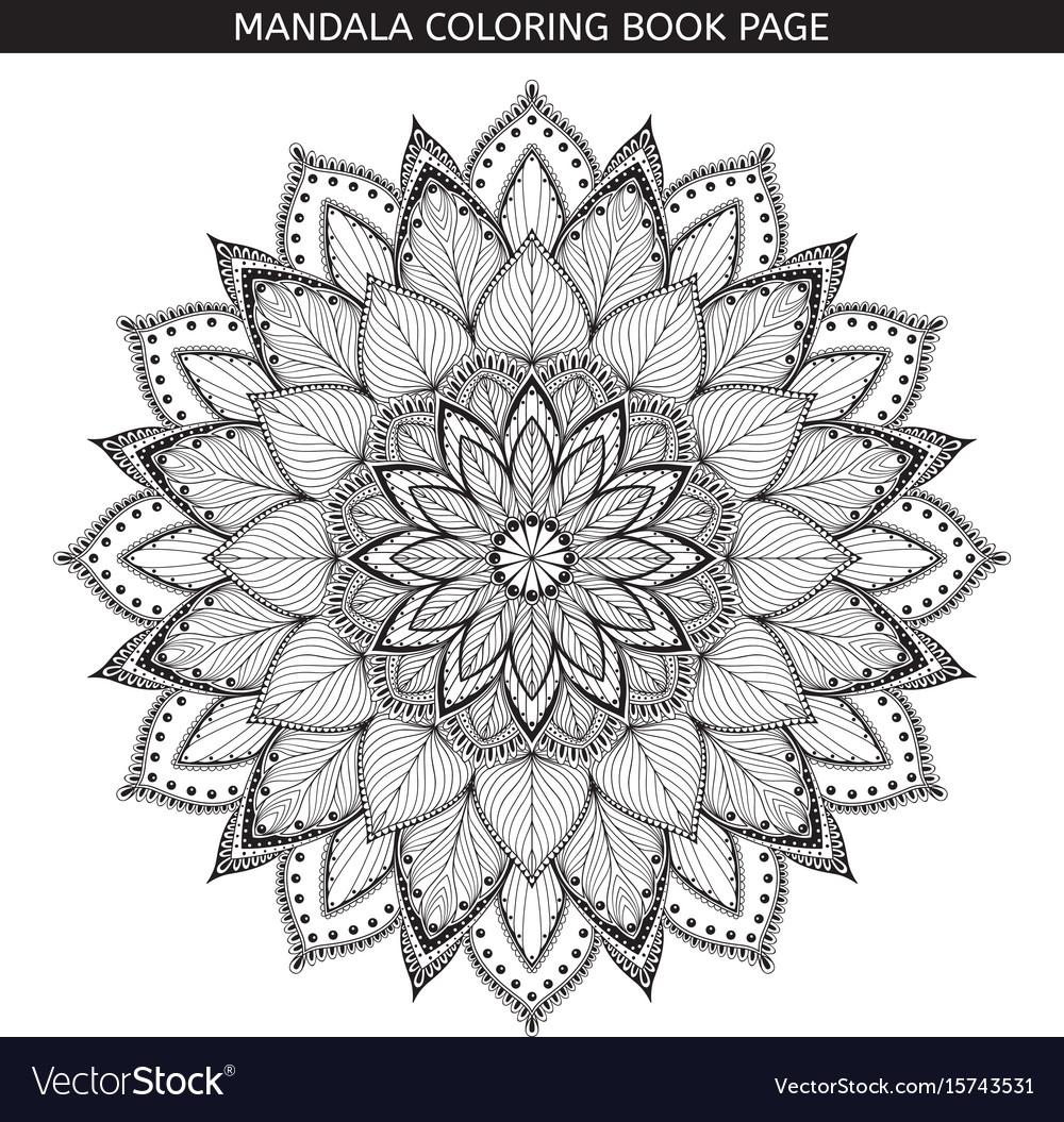 Mandala Coloring Book Pages Indian Antistress Vector Image
