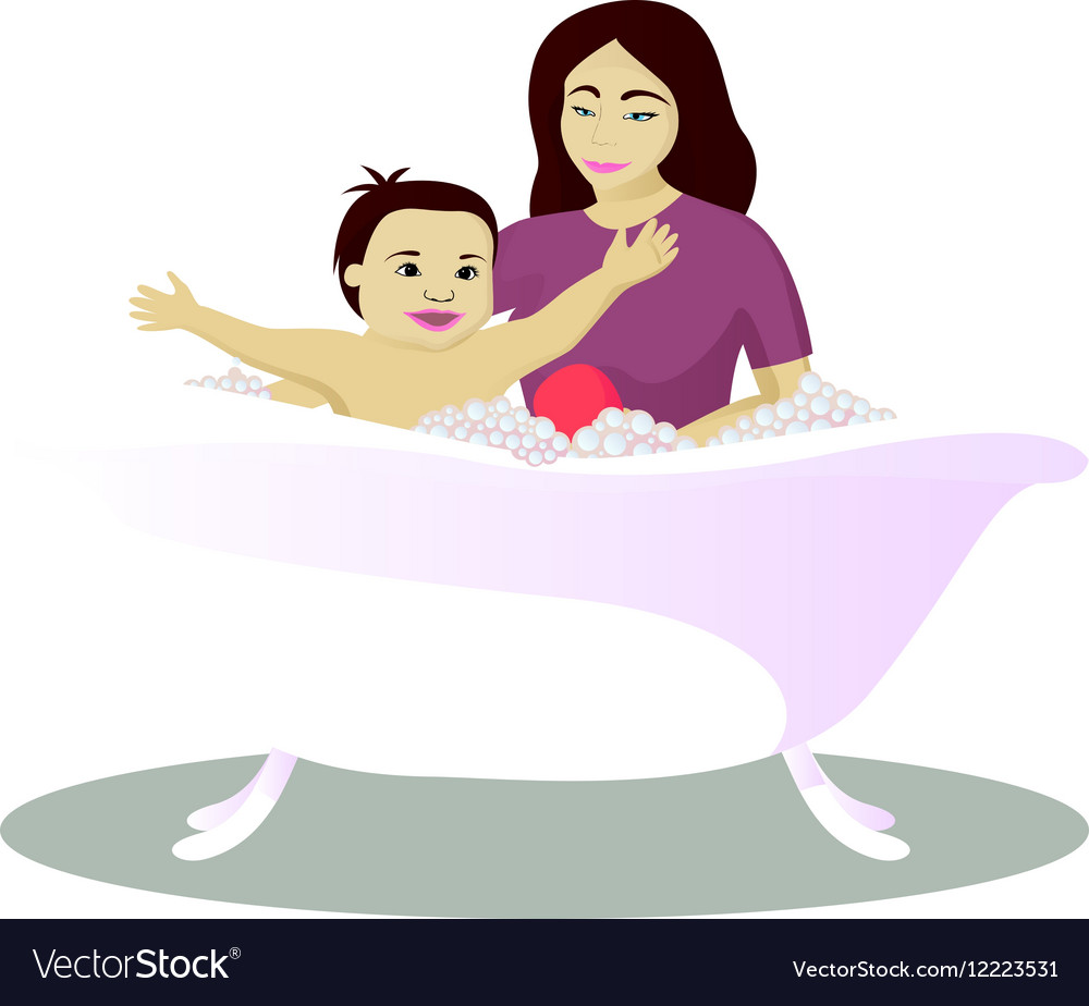 Mother washes smiling child isolated on white