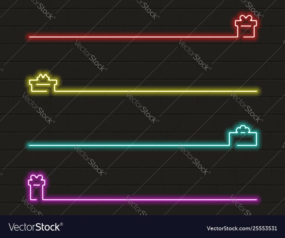 Present icon set in neon light