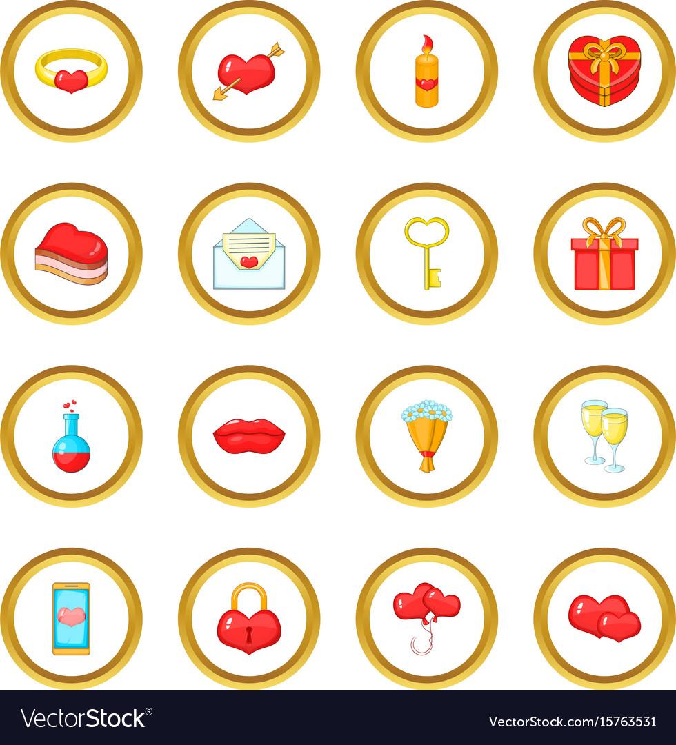 Saint valentine day icons circle