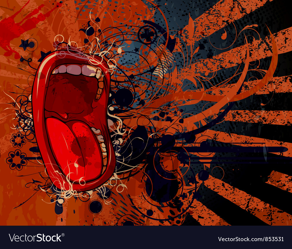 Screaming mouth with grunge background vector image
