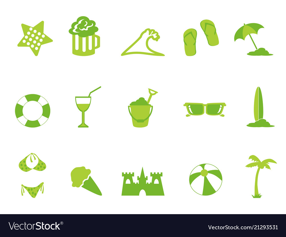 Simple green color beach icons set