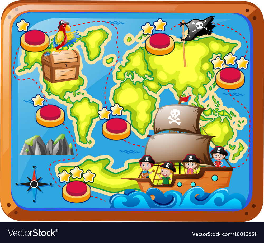- Treasure Map With Kids On The Ship Royalty Free Vector Image