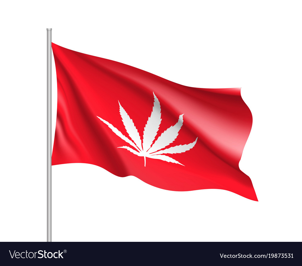 White cannabis leaf on red background
