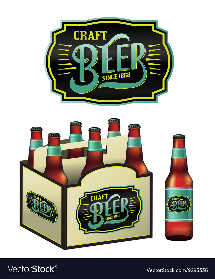 6 Pack Of Craft Beer And Bottle Royalty Free Vector Image