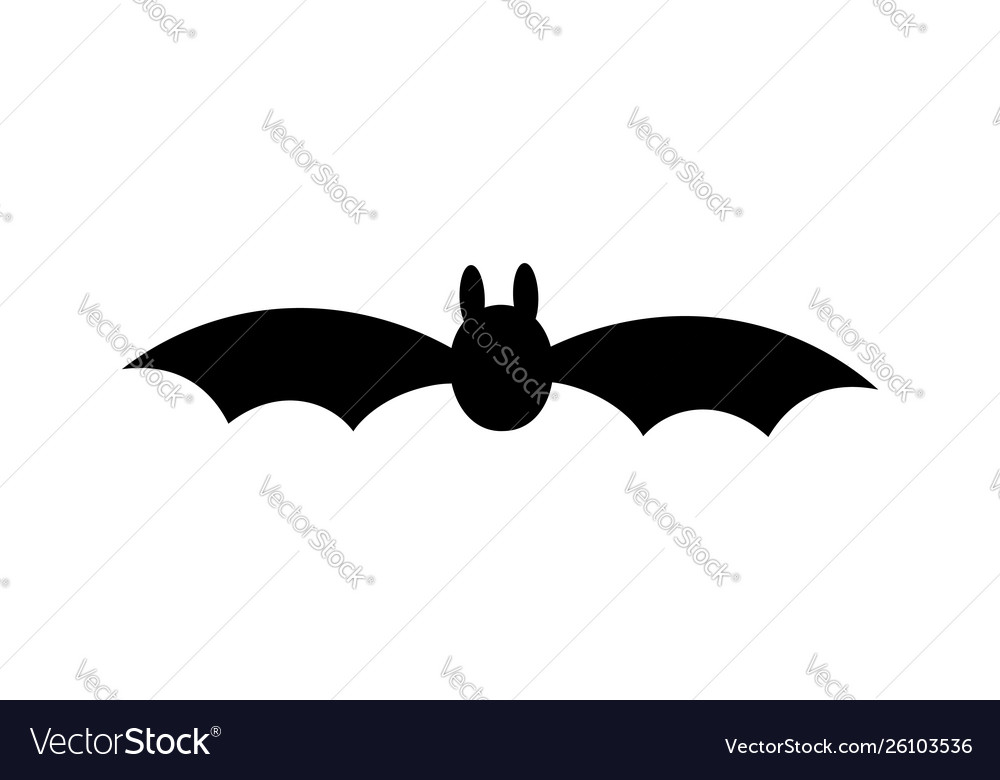 Bat icon black silhouette with wings isolated